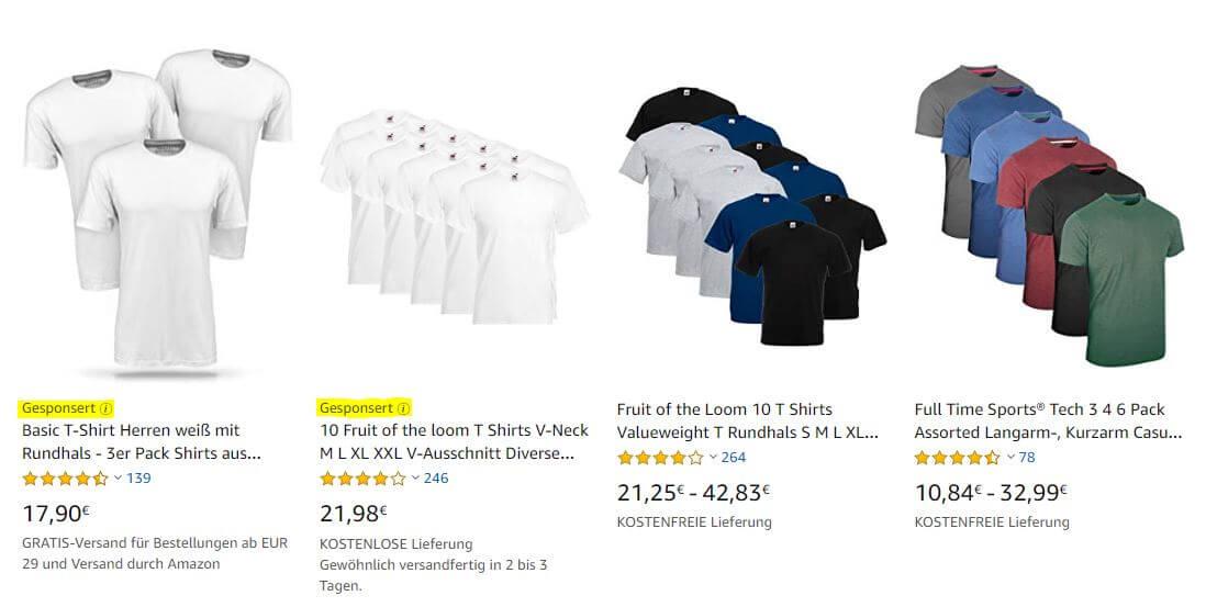 Werbung bei Amazon, Beispiel gesponserte Produkte